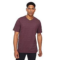 Jacamo - Big and tall dark purple v-neck t-shirt