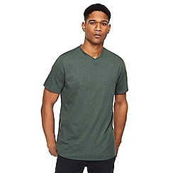Jacamo - Big and tall dark green v-neck t-shirt