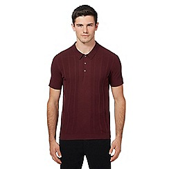 Ben Sherman - Big and tall dark red knitted polo shirt
