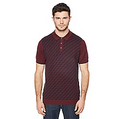 Ben Sherman - Big and tall maroon knitted geometric print polo shirt
