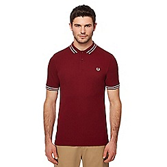 Fred Perry - Maroon tramline tipped polo shirt