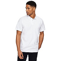 Jacamo - Big and tall white pique polo shirt