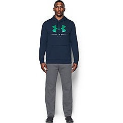 Under Armour - Blue rival fleece cotton blend  graphic hooded warm up top