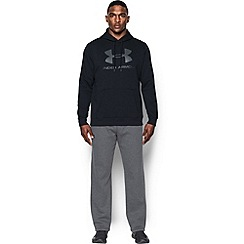 Under Armour - Black rival fleece cotton blend graphic hooded warm up top
