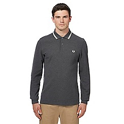 Fred Perry - Grey tipped long sleeve polo shirt