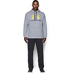 Under Armour - Grey cotton blend 'Rival Fleece' fitted graphic hoodie