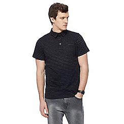 Jacamo - Big and tall black striped print polo shirt