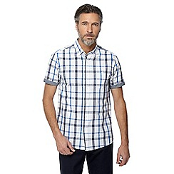 Jacamo - Big and tall white checked short sleeve shirt