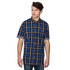 Jacamo - Navy check print button down collar short sleeve long length shirt