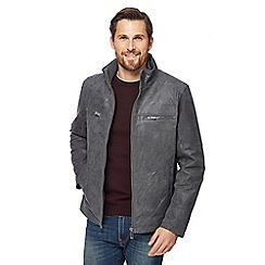 Barneys - Big and tall dark grey leather Harrington jacket