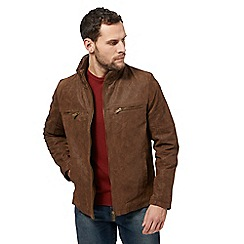 Barneys - Dark tan leather Harrington jacket