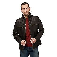 Barneys - Big and tall dark brown leather harrington jacket