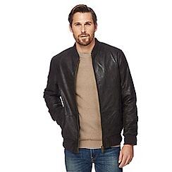 Barneys - Dark brown leather bomber jacket