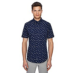 Ben Sherman - Big and tall navy bird print short sleeve shirt