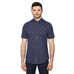 Ben Sherman - Big and tall navy floral print short sleeve regular fit shirt