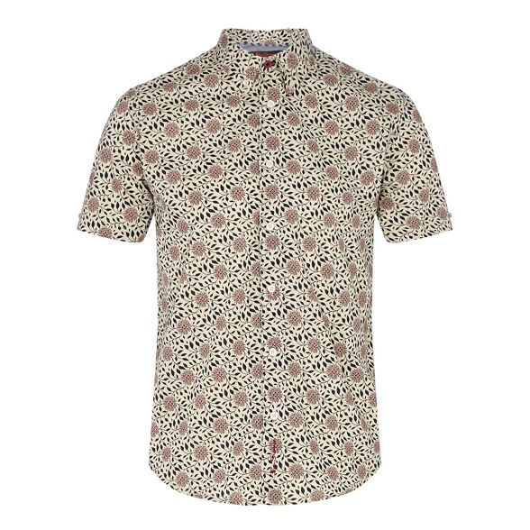 sleeve regular light cream Big collar tall fit Ben short and floral shirt print button Sherman down I4H5x7