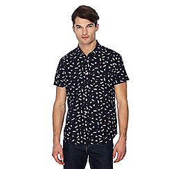 Jacamo - Big and tall navy printed short sleeve regular fit shirt