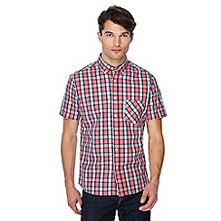 Jacamo - Coral check print button down collar short sleeve long length shirt