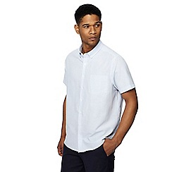 Jacamo - Blue stripe short sleeve Oxford shirt