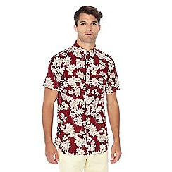 Jacamo - Red floral print short sleeve shirt