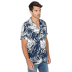 Jacamo - Navy leaf print short sleeve shirt