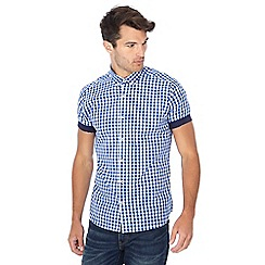 Jacamo - Blue gingham check short sleeve shirt
