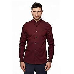 Fred Perry - Maroon plain tonic long sleeve shirt
