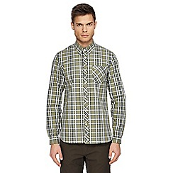 Fred Perry - Olive green bold check long sleeve shirt