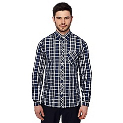 Fred Perry - Navy bold check long sleeve shirt