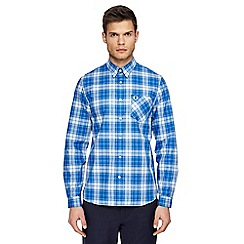 Fred Perry - Blue tartan check long sleeve shirt