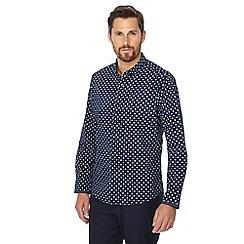 Jacamo - Big and tall navy diamond print regular fit shirt