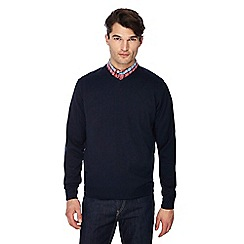 Jacamo - Navy V-neck long sleeve regular fit jumper