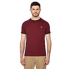 Fred Perry - Maroon embroidered logo 'Ringer' t-shirt
