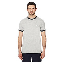 Fred Perry - Light grey embroidered logo 'Ringer' t-shirt