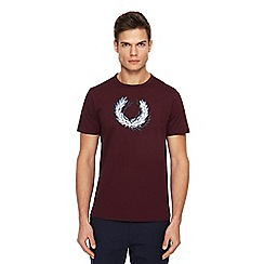 Fred Perry - Maroon logo print t-shirt