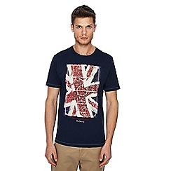 Ben Sherman - Big and tall navy 'union jack' football pitch print t-shirt