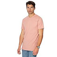 Jacamo - Pale peach V-neck long length t-shirt