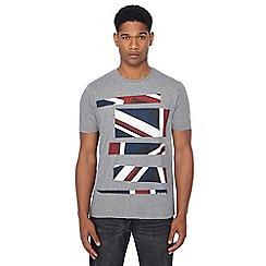 Ben Sherman - Grey Union Jack stripe print t-shirt
