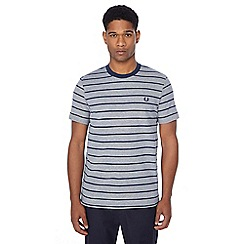 Fred Perry - Navy Oxford stripe pique textured t-shirt