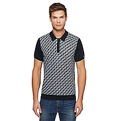 Ben Sherman - Big and tall black patterned knitted polo shirt
