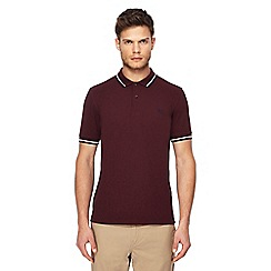 Fred Perry - Dark red tipped embroidered logo polo shirt