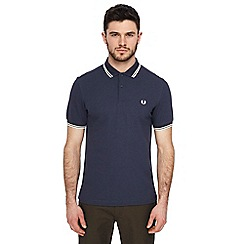 Fred Perry - Dark blue tipped embroidered logo polo shirt