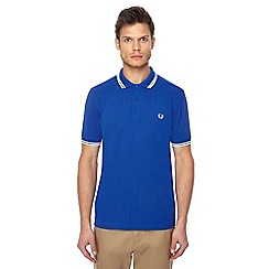 Fred Perry - Bright blue tipped embroidered logo polo shirt