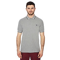 Fred Perry - Light grey embroidered logo polo shirt