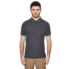 Fred Perry - Dark grey tipped embroidered logo polo shirt