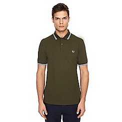 Fred Perry - Khaki tipped embroidered logo polo shirt