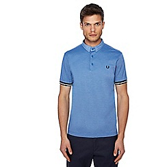 Fred Perry - Blue woven textured polo shirt