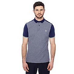 Fred Perry - Navy jacquard panel polo shirt
