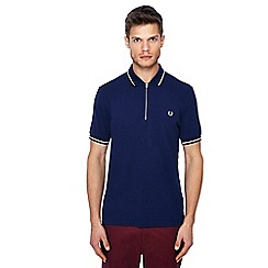 Fred Perry - Navy zip neck polo shirt