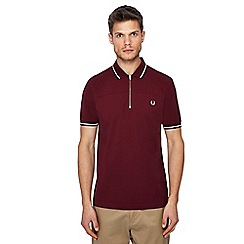 Fred Perry - Maroon zip neck polo shirt